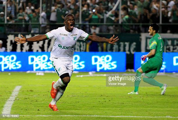 Miguel Murillo of Deportivo Cali celebrates after scoring during a second leg quarterfinals match between Deportivo Cali and Atletico Nacional as...