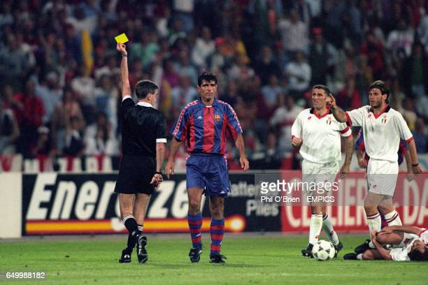 S Miguel Nadal following his foul on AC Milan's Dejan Savicevic AC Milan's Mauro Tassotti and Zvonimir Boban seem to want the punishment to be more...