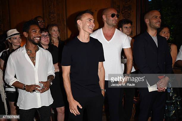 Miguel Neil Barrett and Milan Vukmirovic attend GQ Party for Jim Moore during Milan Menswear Fashion Week Spring/Summer 2016 at Casa Degli Atellani...