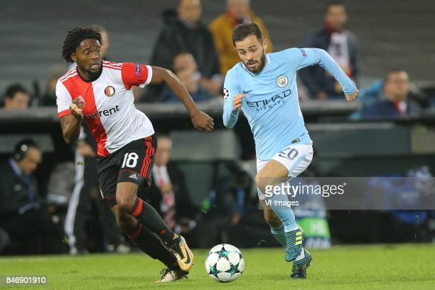 Miguel Nelom of Feyenoord Bernardo Silva of Manchester City during the UEFA Champions League group F match between Feyenoord Rotterdam and Manchester...