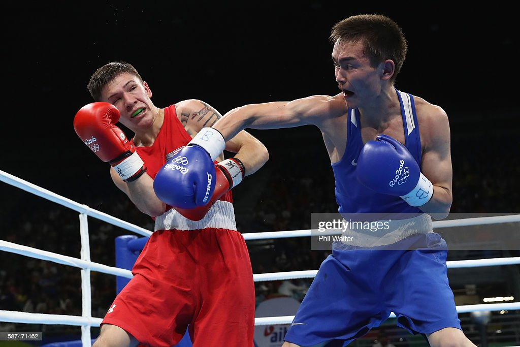 Miguel Nico Hernandez of the USA fights against Vasilii Egorov of Russia in their Men's Light Flyweight bout on Day 3 of the Rio 2016 Olympic Games...