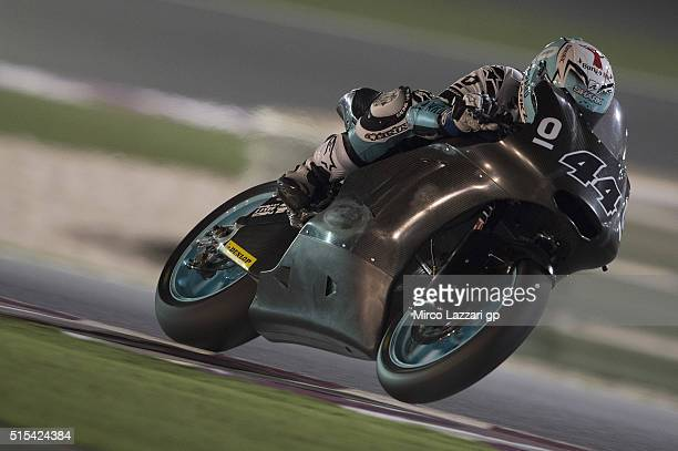 Miguel Oliveira of Portugal and Leopard Racing heads down a straight during the Moto2 And Moto 3 Tests at Losail Circuit on March 13 2016 in Doha...