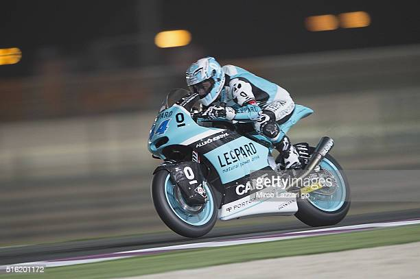 Miguel Oliveira of Portugal and Leopard Racing heads down a straight during the MotoGp of Qatar Free Practice at Losail Circuit on March 17 2016 in...