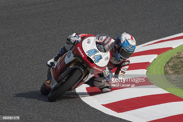 Miguel Oliveira of Portugal and Mahindra racing rounds the bend during the MotoGp of Catalunya Free Practice at Circuit de Catalunya on June 13 2014...