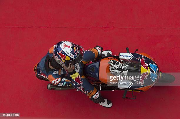 Miguel Oliveira of Portugal and Red Bull KTM Ajo celebrates the third place at the end of the qualifying practice during the MotoGP Of Malaysia at...