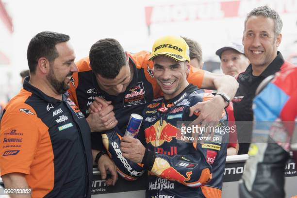 Miguel Oliveira of Portugal and Red Bull KTM Ajo celebrates with team the Moto2 Pole position during the MotoGp of Argentina Qualifying on April 8...