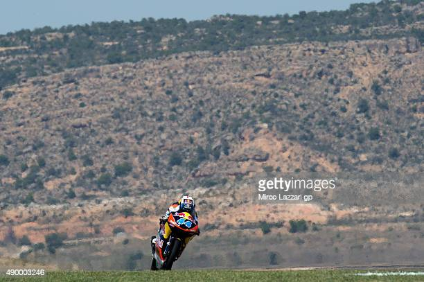 Miguel Oliveira of Portugal and Red Bull KTM Ajo heads down a straight during the MotoGP of Spain Free Practice at Motorland Aragon Circuit on...