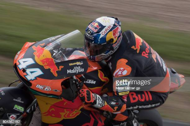 Miguel Oliveira of Portugal and Red Bull KTM Ajo heads down a straight during the MotoGp of Germany Free Practice at Sachsenring Circuit on June 30...