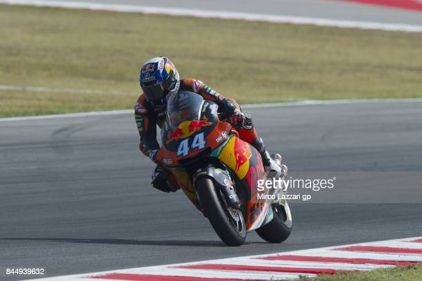 Miguel Oliveira of Portugal and Red Bull KTM Ajo heads down a straight during the Moto2 qualifying during the MotoGP of San Marino Qualifying at...