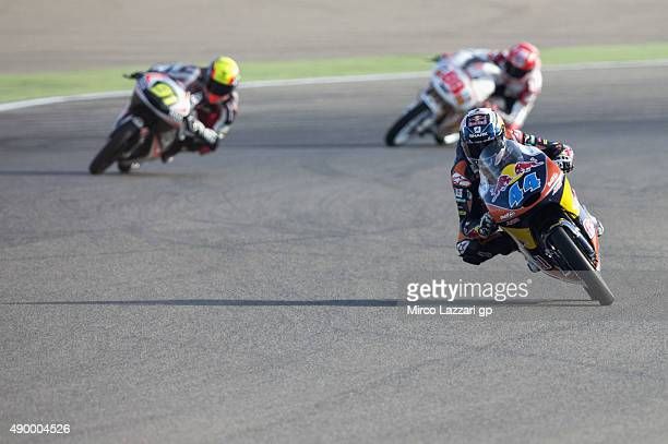Miguel Oliveira of Portugal and Red Bull KTM Ajo leads the field during the MotoGP of Spain Free Practice at Motorland Aragon Circuit on September 25...