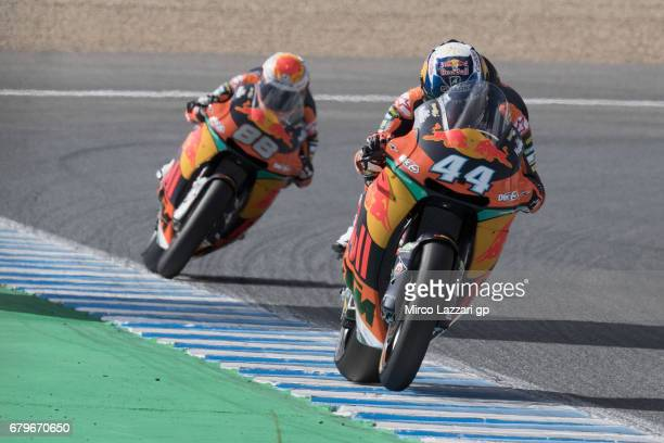 Miguel Oliveira of Portugal and Red Bull KTM Ajo leads the field during the MotoGp of Spain Qualifying at Circuito de Jerez on May 6 2017 in Jerez de...