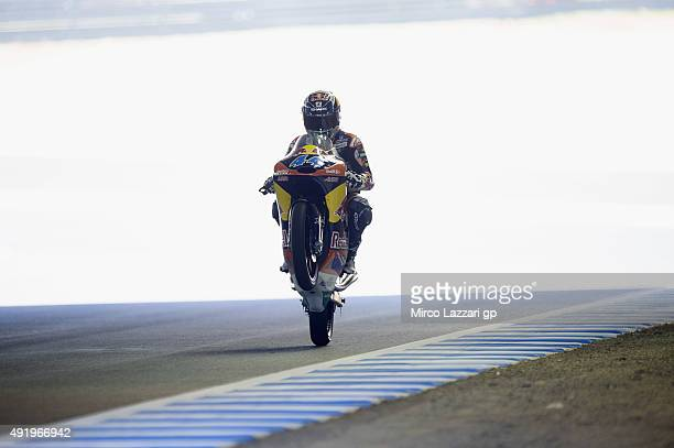 Miguel Oliveira of Portugal and Red Bull KTM Ajo lifts the front wheel during the MotoGP Of Japan Free Practice at Twin Ring Motegi on October 9 2015...