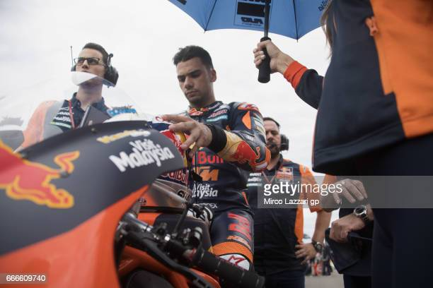 Miguel Oliveira of Portugal and Red Bull KTM Ajo prepares to start on the grid during the Moto2 race during the MotoGp of Argentina Race on April 9...