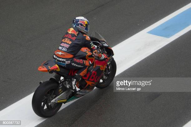 Miguel Oliveira of Portugal and Red Bull KTM Ajo returns in box during the MotoGP Netherlands Qualifying on June 24 2017 in Assen Netherlands
