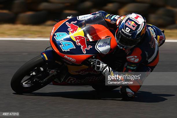 Miguel Oliveira of Portugal and Red Bull KTM Ajo rides during the Moto3 race during the 2015 MotoGP of Australia at Phillip Island Grand Prix Circuit...