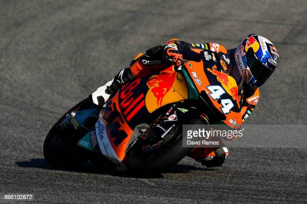 Miguel Oliveira of Portugal and Red Bull KTM Ajo rides during the Moto2 warmup ahead of the Moto2 race at Circuit de Catalunya on June 11 2017 in...