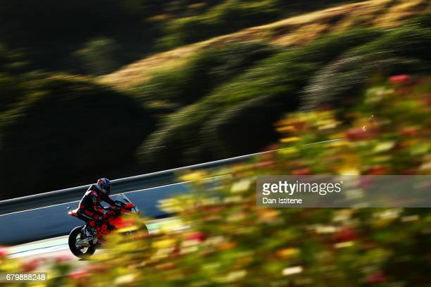 Miguel Oliveira of Portugal and Red Bull KTM Ajo rides during warmup for Moto2 at Circuito de Jerez on May 7 2017 in Jerez de la Frontera Spain