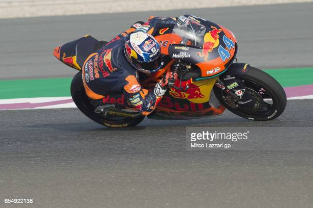 Miguel Oliveira of Portugal and Red Bull KTM Ajo rounds the bend during Moto2 And Moto3 Tests In Losail at Losail Circuit on March 18 2017 in Doha...