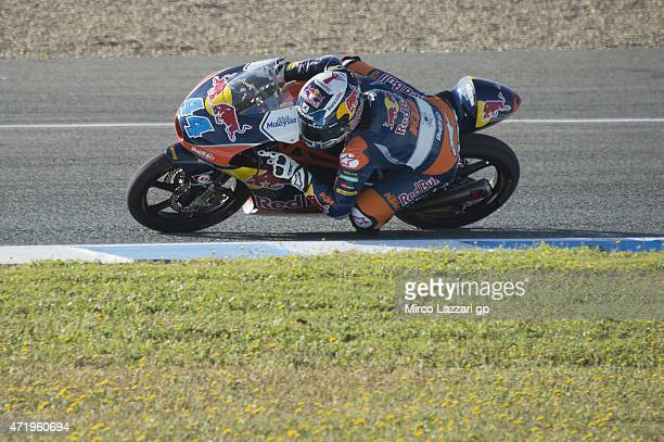 Miguel Oliveira of Portugal and Red Bull KTM Ajo rounds the bend during the MotoGp of Spain Qualifying at Circuito de Jerez on May 2 2015 in Jerez de...