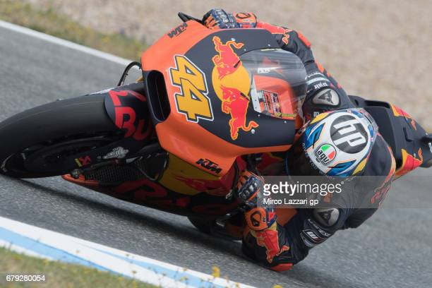 Miguel Oliveira of Portugal and Red Bull KTM Ajo rounds the bend during the MotoGp of Spain Free Practice at Circuito de Jerez on May 5 2017 in Jerez...