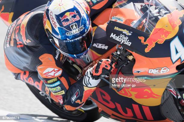 Miguel Oliveira of Portugal and Red Bull KTM Ajo rounds the bend during the MotoGp of Spain Qualifying at Circuito de Jerez on May 6 2017 in Jerez de...
