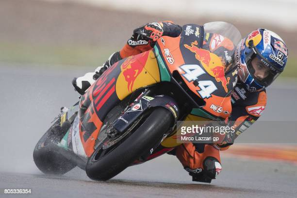 Miguel Oliveira of Portugal and Red Bull KTM Ajo rounds the bend during the MotoGp of Germany Qualifying at Sachsenring Circuit on July 1 2017 in...