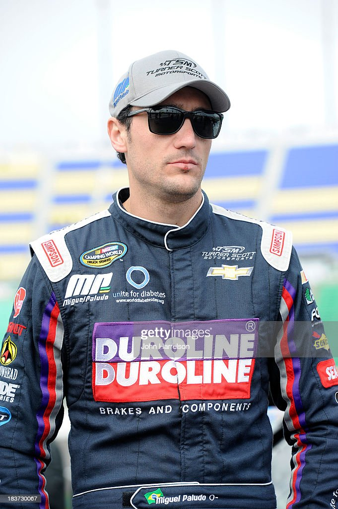 Miguel Paludo, driver of the #32 Duroline Chevrolet, during qualifying for the NASCAR Camping World Truck Series SFP 250 at Kansas Speedway on April 20, 2013 in Kansas City, Kansas.