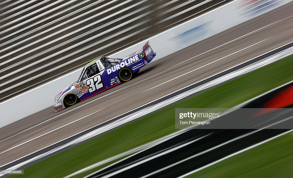 Miguel Paludo drives the #32 Duroline Chevrolet during practice for NASCAR Camping World Truck Series WinStar World Casino 400 at Texas Motor Speedway on June 6, 2013 in Fort Worth, Texas.