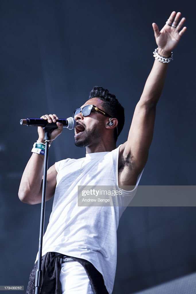 Miguel performs on stage on Day 2 of Yahoo Wireless Festival 2013 at Queen Elizabeth Olympic Park on July 13, 2013 in London, England.