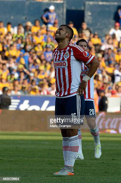 Miguel Ponce of Chivas reacts during a 3rd round match between Tigres UANL and Chivas as part of the Apertura 2015 Liga MX at Universitario Stadium...