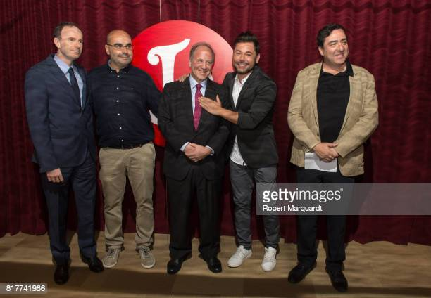 Miguel Poveda poses during a press presentation of his latest production 'Miguel Poveda Friends' at the Gran Teatre del Liceu on July 18 2017 in...