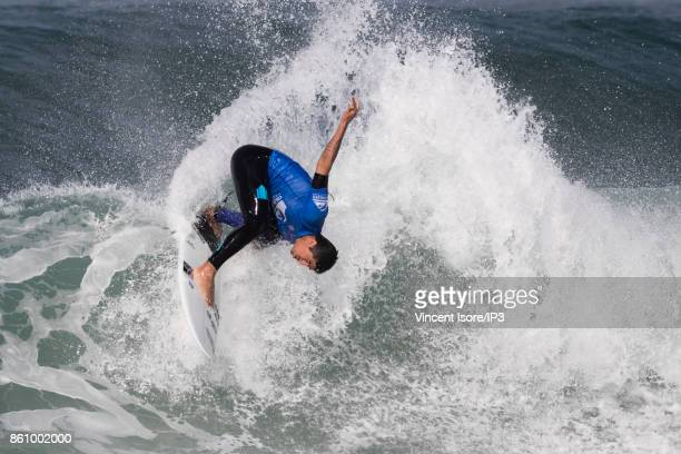 Miguel Pupo from Brazil performs during the Quicksilver Pro France surf competition on October 13 2017 in Hossegor France The French stage of the...
