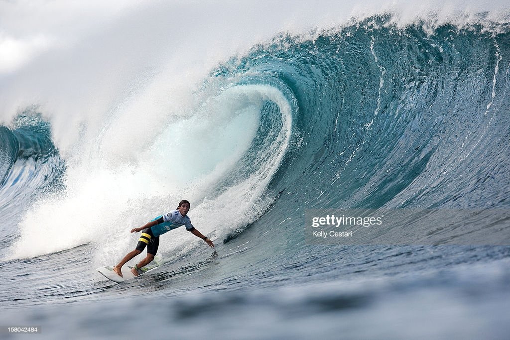 Miguel Pupo of Brasil advanced into Round 4 of the Billabong Pipe Masters in Memory of Andy Irons at Pipeline on December 9, 2012 in North Shore, Hawaii.