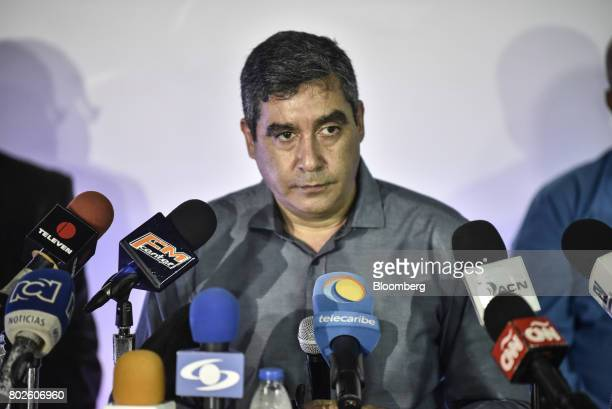 Miguel Rodriguez Torres former Venezuelan interior minister listens during a press conference in Caracas Venezuela on Tuesday June 27 2017 Venezuelan...