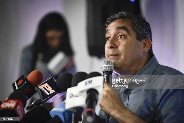 Miguel Rodriguez Torres former Venezuelan interior minister pauses while speaking during a press conference in Caracas Venezuela on Tuesday June 27...
