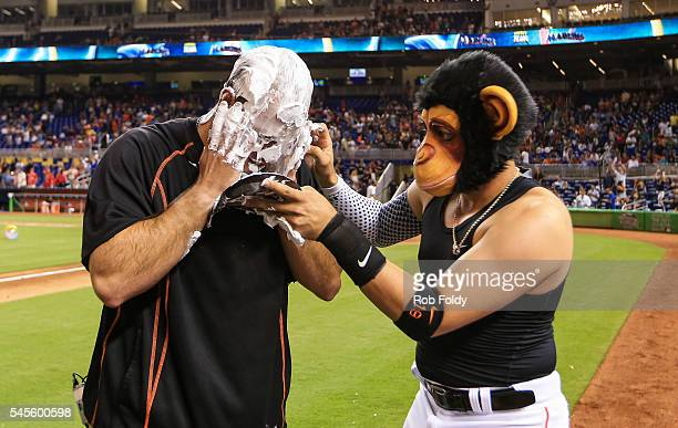 Miguel Rojas covers Jose Fernandez of the Miami Marlins with shaving cream after the game against the Cincinnati Reds at Marlins Park on July 8 2016...