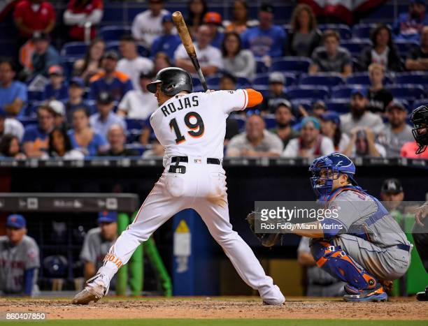 Miguel Rojas of the Miami Marlins at bat during the game against the New York Mets at Marlins Park on April 14 2017 in Miami Florida