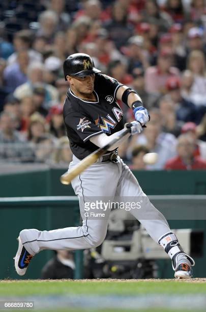 Miguel Rojas of the Miami Marlins bats against the Washington Nationals at Nationals Park on April 5 2017 in Washington DC
