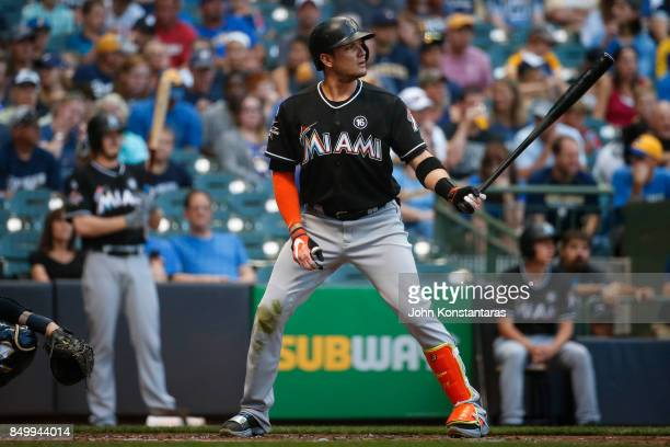 Miguel Rojas of the Miami Marlins bats during the first inning against the Milwaukee Brewers at Miller Park on September 16 2017 in Milwaukee...