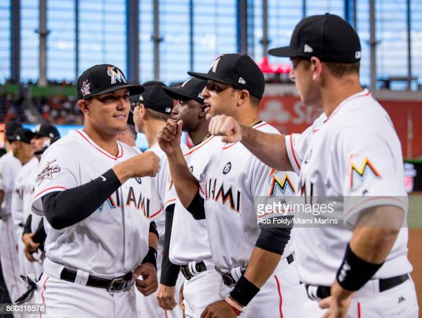 Miguel Rojas of the Miami Marlins before the Opening Day game against the Atlanta Braves at Marlins Park on April 11 2017 in Miami Florida