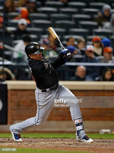 Miguel Rojas of the Miami Marlins in action against the New York Mets during the first inning of a game at Citi Field on April 9 2017 in New York City