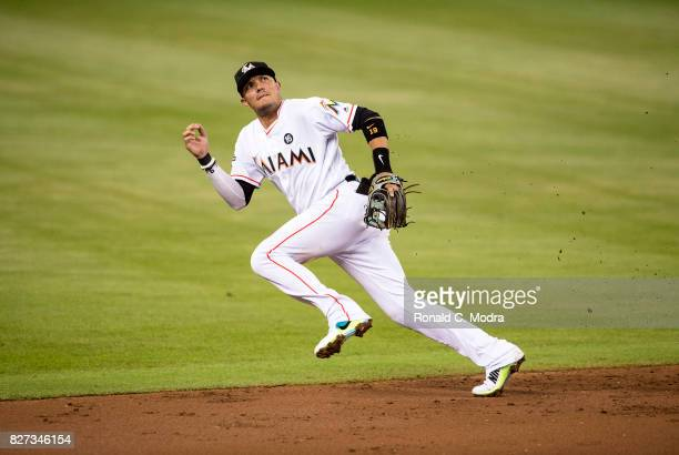 Miguel Rojas of the Miami Marlins in action during a MLB game against the Washington Nationals at Marlins Park on August 1 2017 in Miami Florida