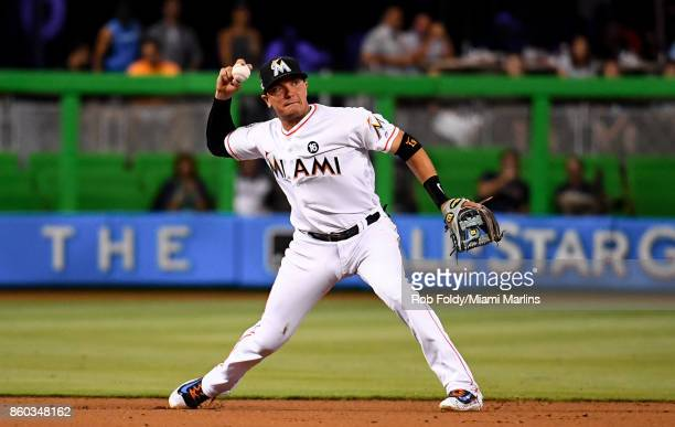 Miguel Rojas of the Miami Marlins in action during the game against the Atlanta Braves at Marlins Park on April 12 2017 in Miami Florida