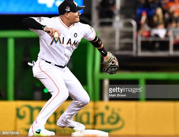 Miguel Rojas of the Miami Marlins in action during the game between the Miami Marlins and the Washington Nationals at Marlins Park on July 31 2017 in...