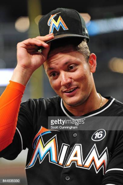 Miguel Rojas of the Miami Marlins is interviewed after the game against the Atlanta Braves at SunTrust Park on September 8 2017 in Atlanta Georgia