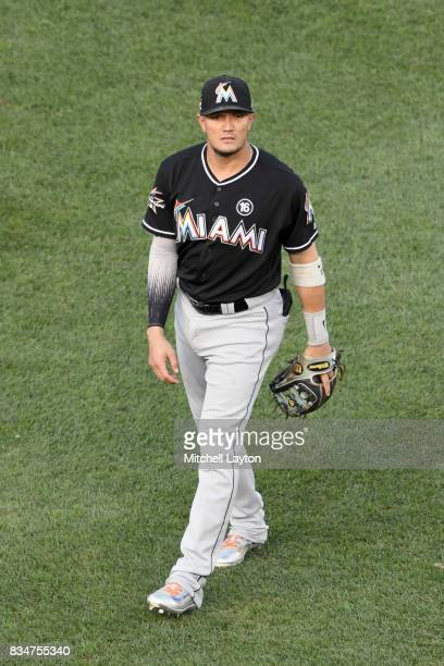 Miguel Rojas of the Miami Marlins looks on before a baseball game against the Washington Nationals at Nationals Park on August 9 2017 in Washington...