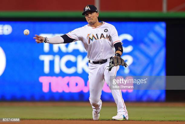 Miguel Rojas of the Miami Marlins makes a throw to first during a game against the Washington Nationals at Marlins Park on August 2 2017 in Miami...