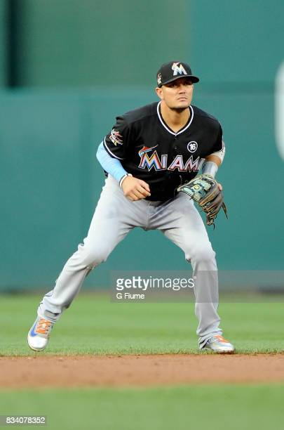 Miguel Rojas of the Miami Marlins plays shortstop during the game against the Washington Nationals at Nationals Park on August 10 2017 in Washington...