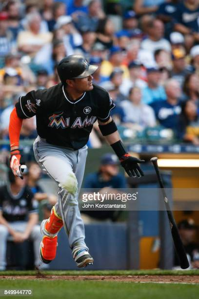 Miguel Rojas of the Miami Marlins singles during the first inning against the Milwaukee Brewers at Miller Park on September 16 2017 in Milwaukee...