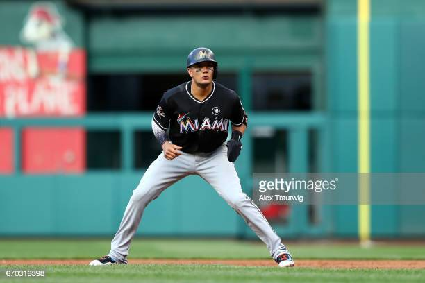 Miguel Rojas of the Miami Marlins takes a lead off first base during the game against the Washington Nationals at Nationals Park on Thursday April 6...
